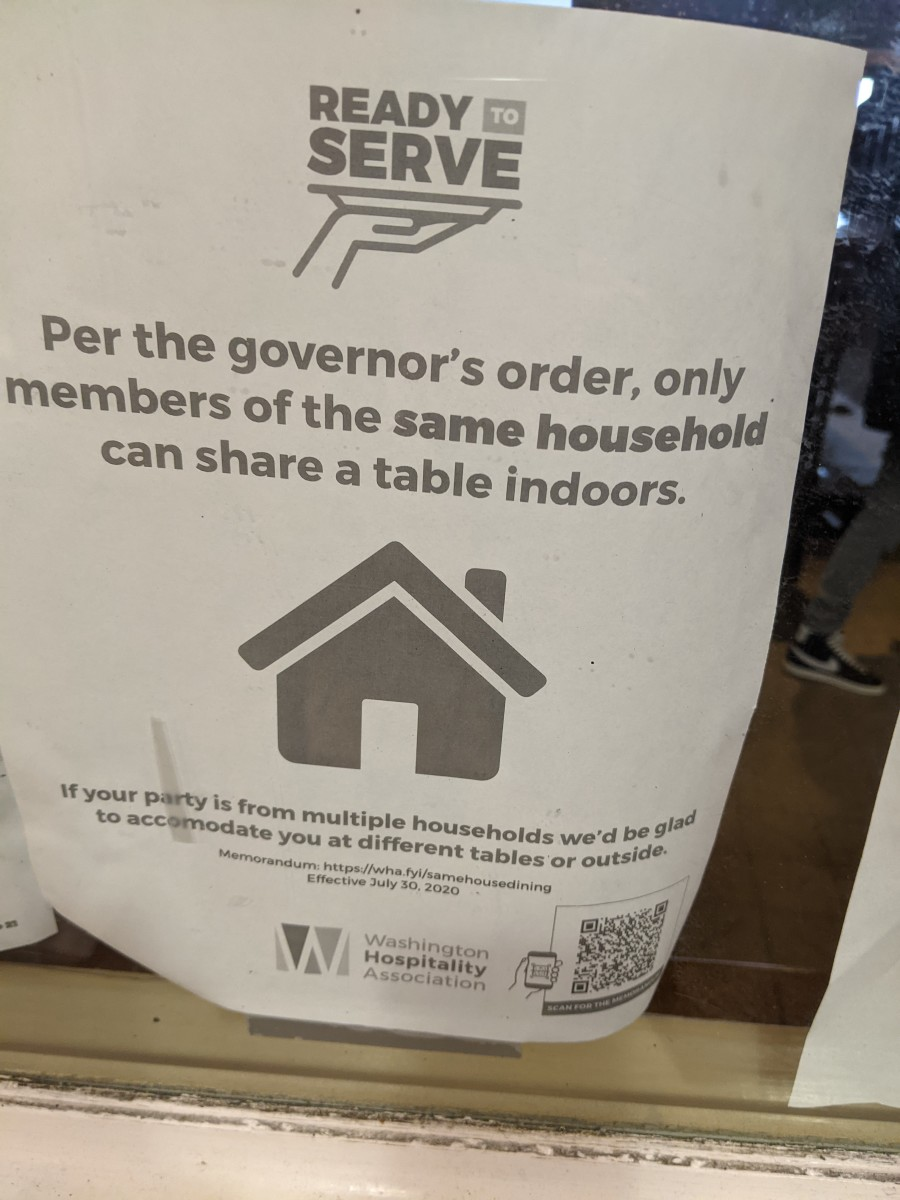 Sign in Seattle restaurant limiting seating by order of the state's Governor.