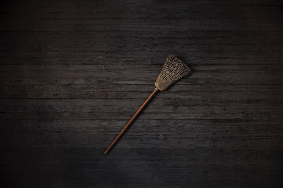 Witches are often depicted flying on their brooms.