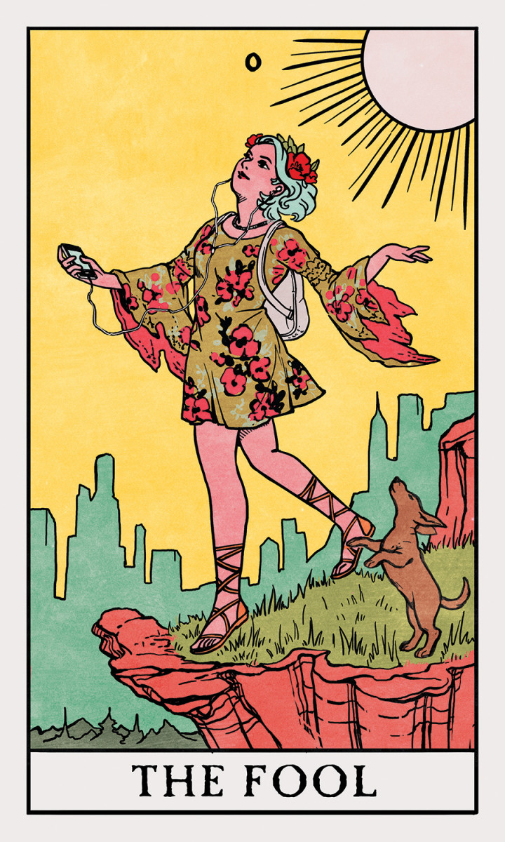 The Fool will appear different in different decks. Certain characteristics tend to be the same: a youth standing at an edge, a dog with them, mountains or buildings in the background, bright colors, and a stylish outfit.