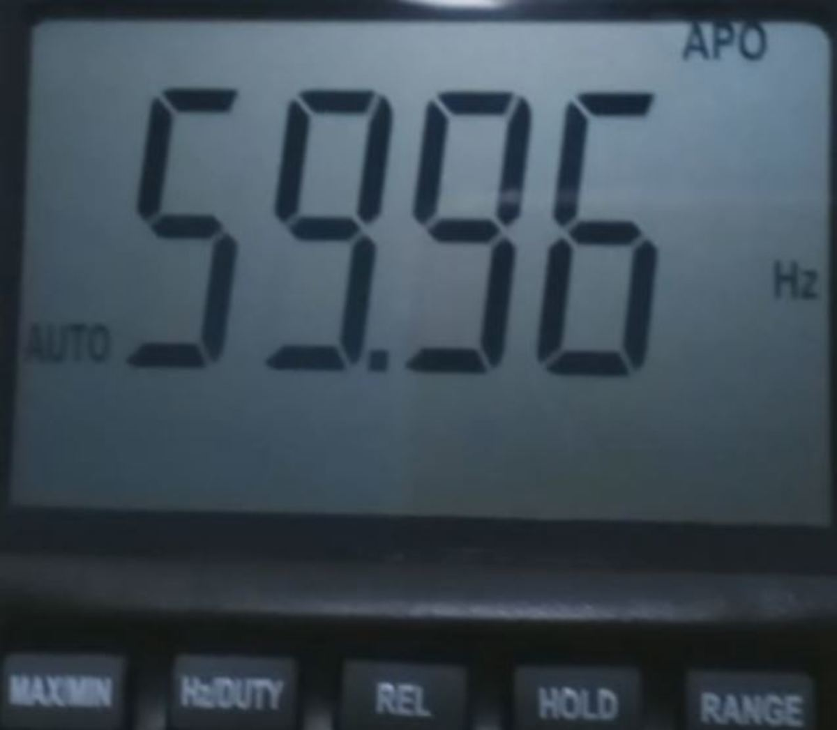 Meter displaying the AC frequency (cycles per second).
