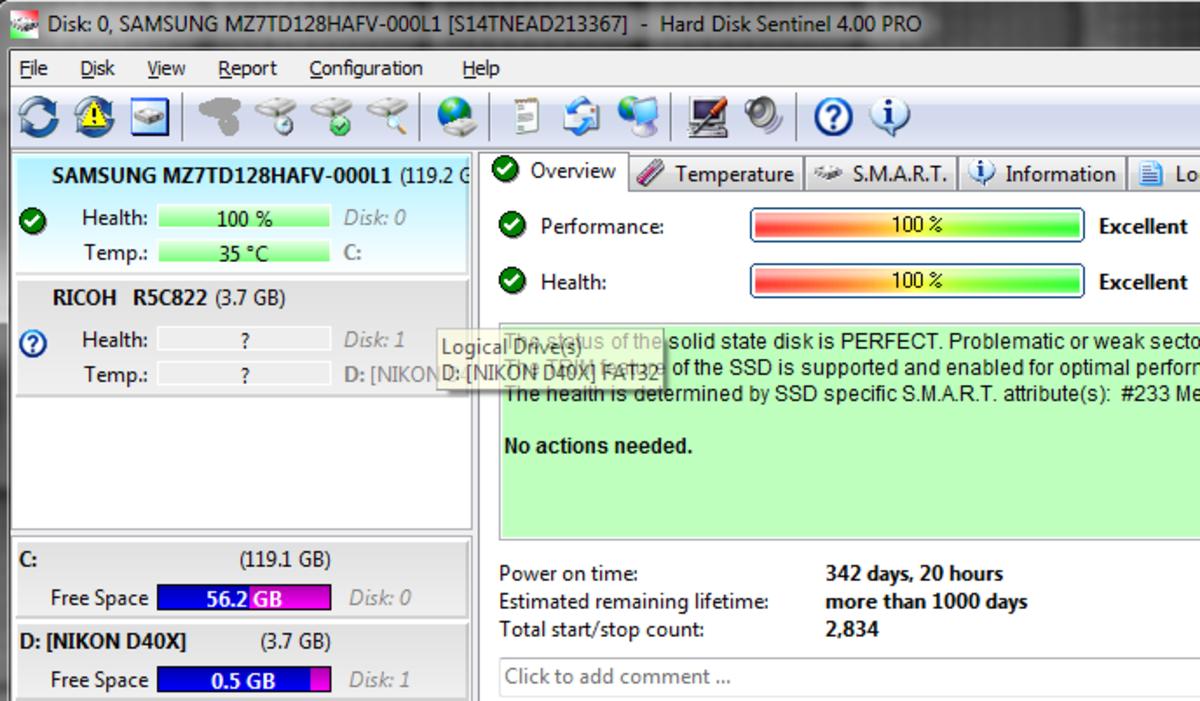 Hard Disk Sentinel display details of a good disk drive