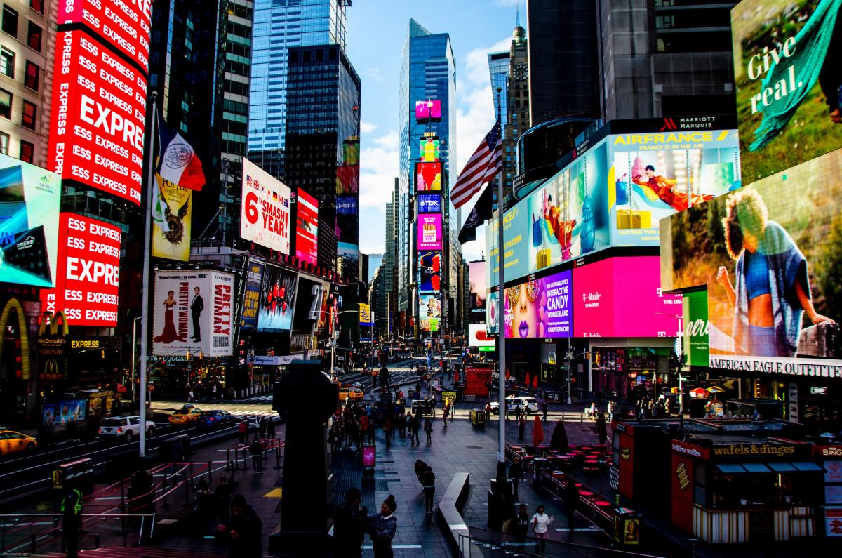 Times Square is buzzing at all hours of the day and night.