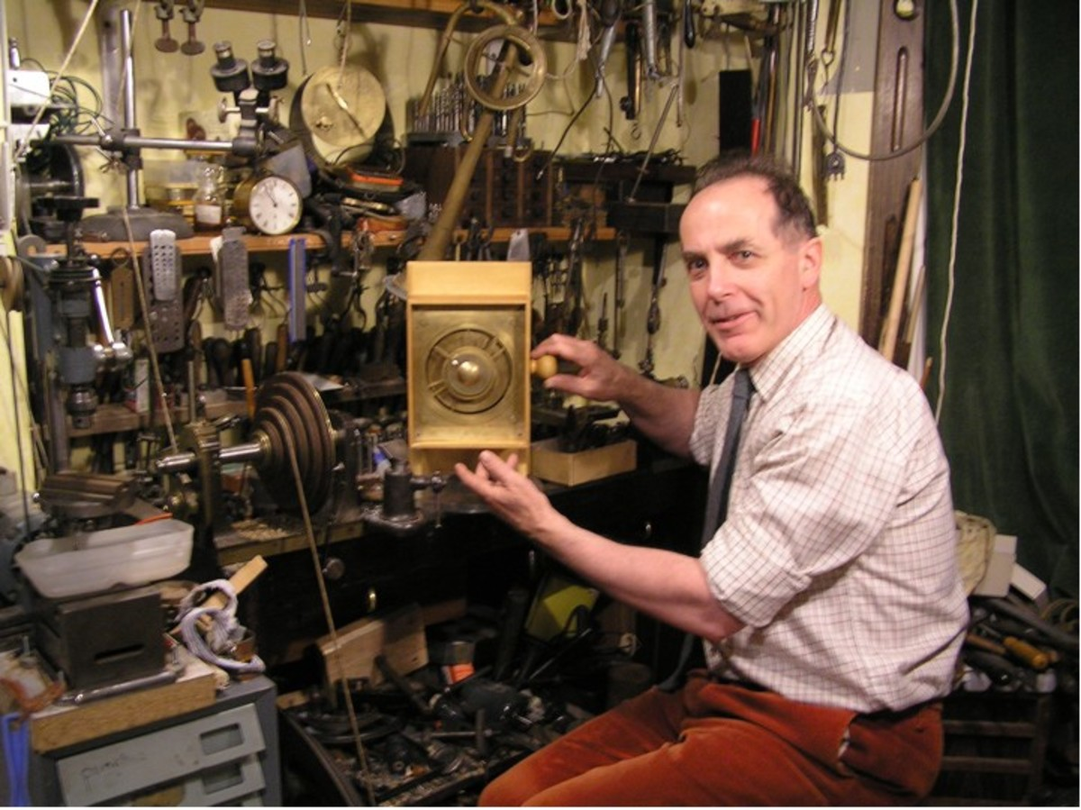 Michael Wright in his workshop recreating the Antikythera mechanism