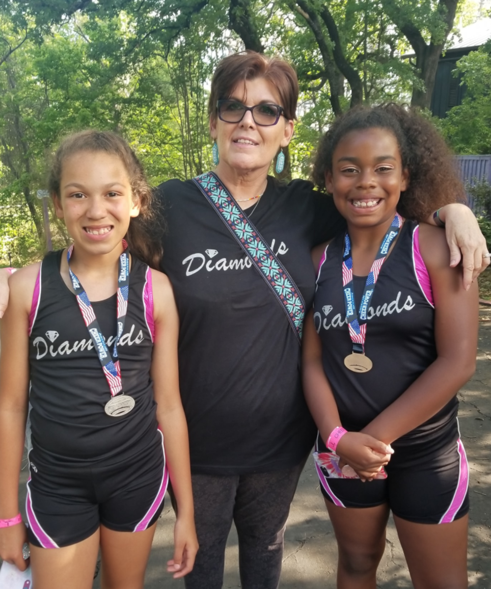 """Marnie with granddaughters Elisabeth and Skylar-Rose at one of their running events. """"We always finish together!"""" says Marnie."""