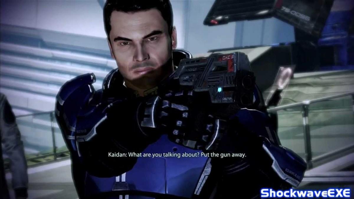 Kaidan nearly shoots Shepard.