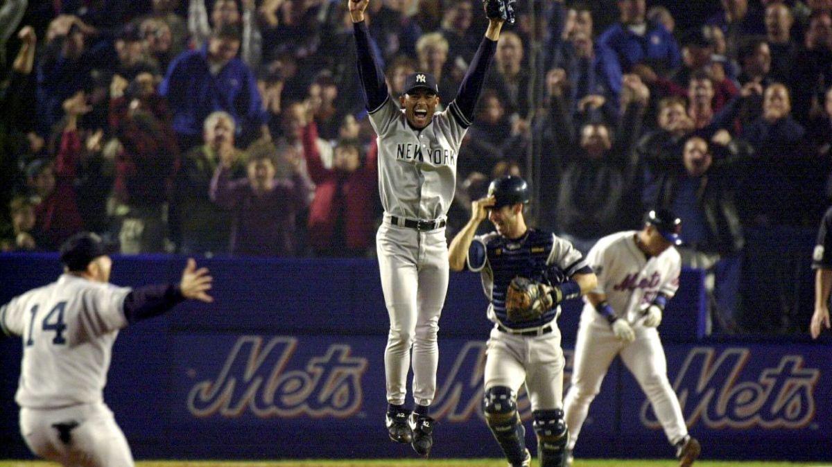 Mariano Rivera, Jorge Posada and company celebrating the 2000 World Series as champions.