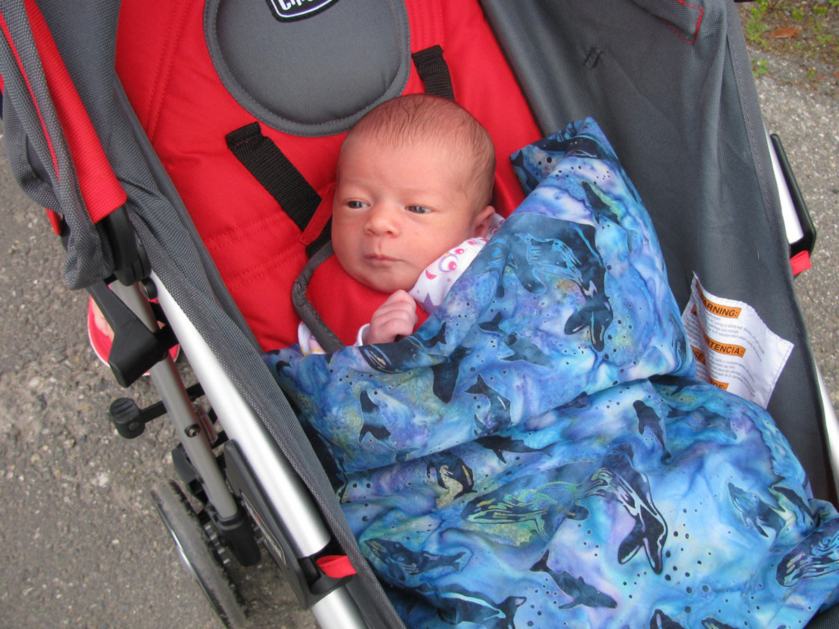 Take your baby along for a walk so you get exercise and he or she gets fresh air