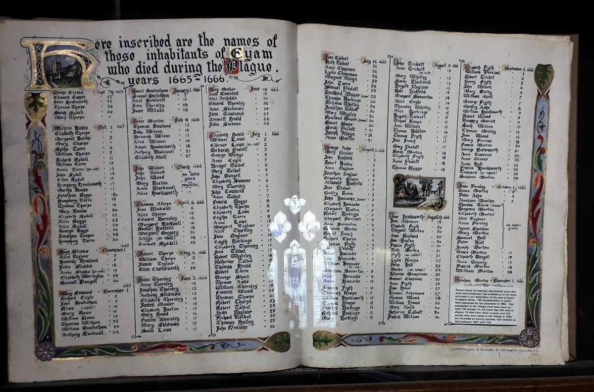 The Plague Register in Eyam Parish Church.