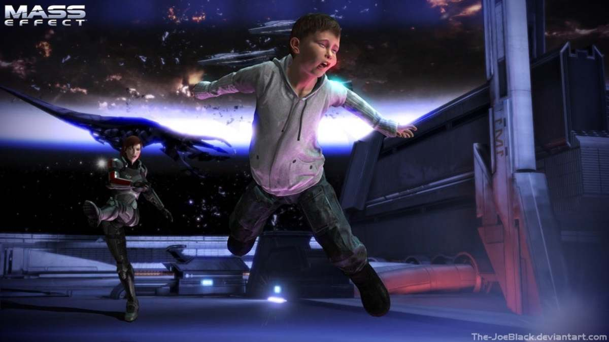 A fanmade render of Shepard kicking the Star Kid.
