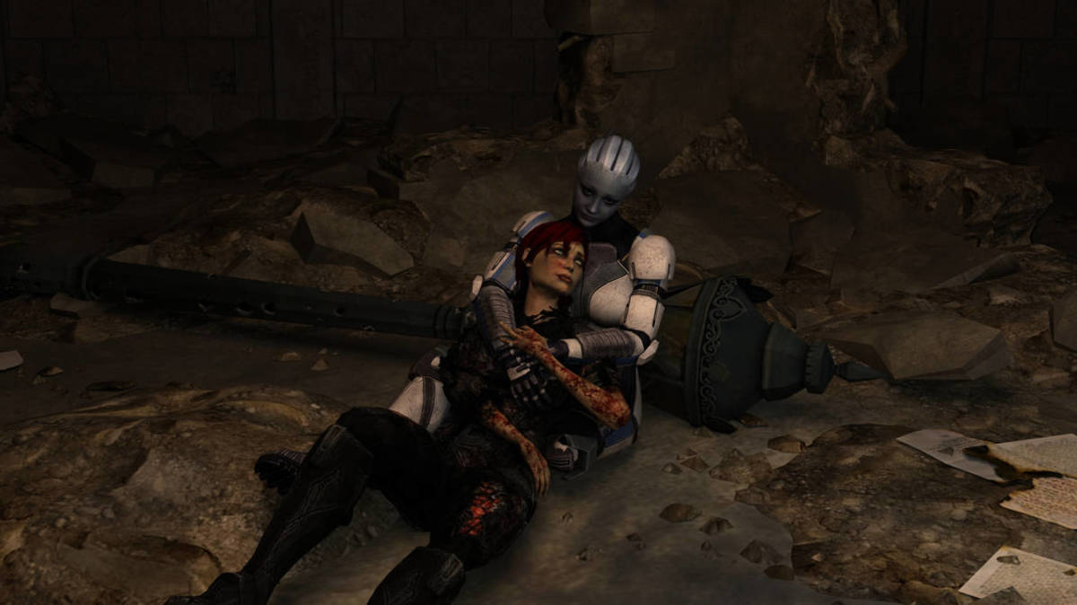 A fanmade render of Shepard dying in Liara's arms.