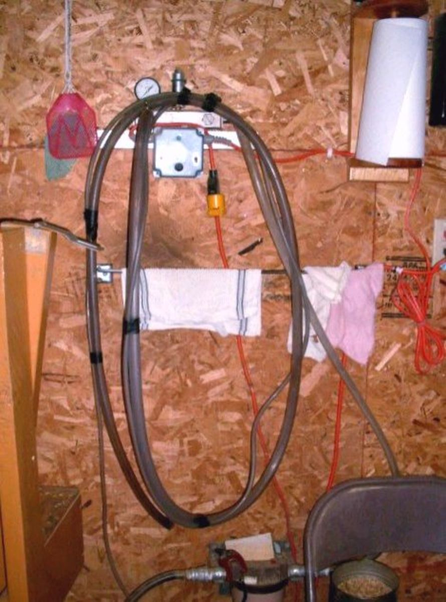 Here is the milker hose and compressor switch. Mr. James prefers not to milk by hand.
