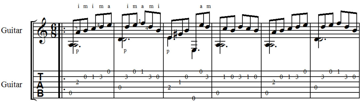 easy-classical-guitar-sor-study-in-a-minor-in-guitar-tab-and-standard-notation