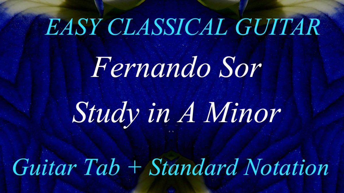 Sor Study in A Minor in guitar tab and standard notation