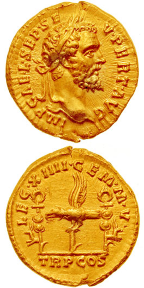 Septimius Severus on a gold Aureus. Coin from CNG coins.