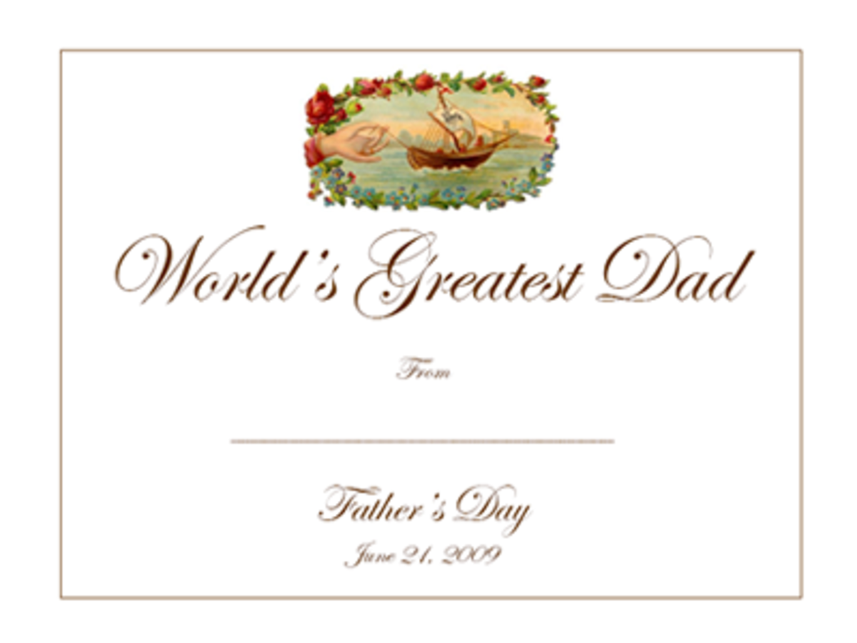 Click a document or PDF to the left to access this vintage free Father's Day  printable gift certificate template