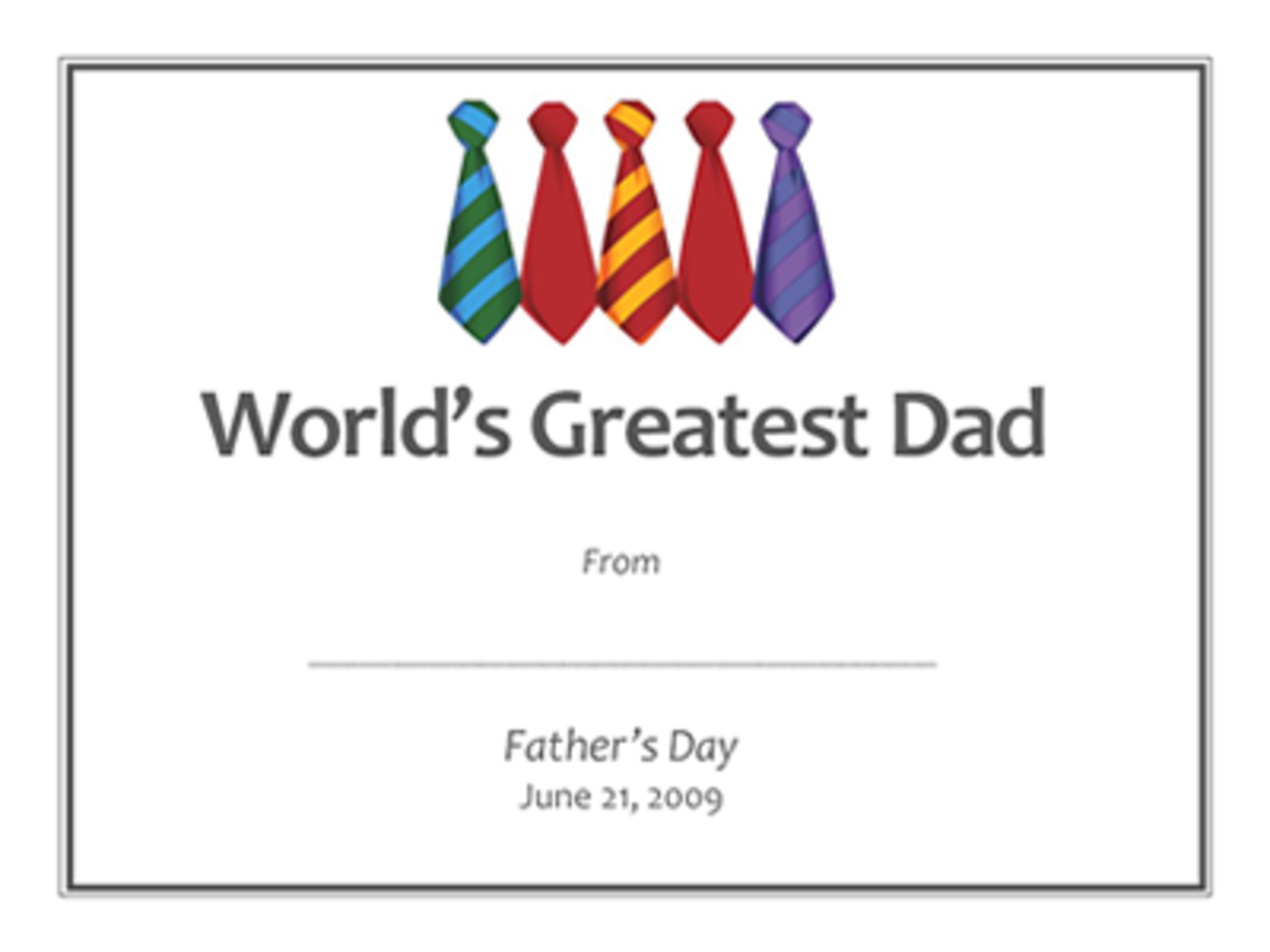 Click a document or PDF to the left to access this contemporary free Father's Day  printable gift certificate template