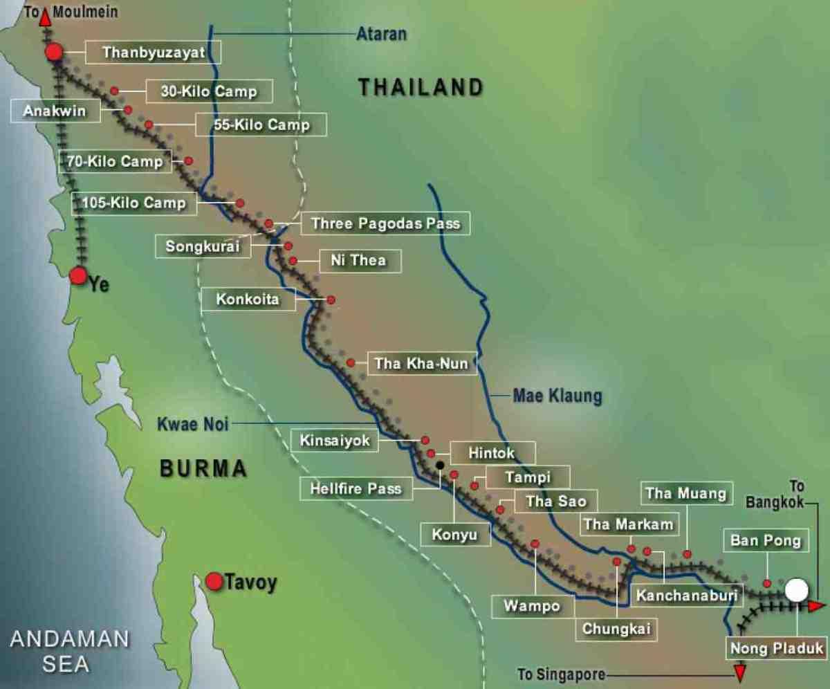 Map of Burma-Thailand Railway