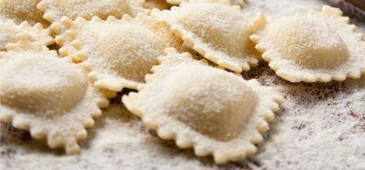 Freshly made ready Ravioli pasta