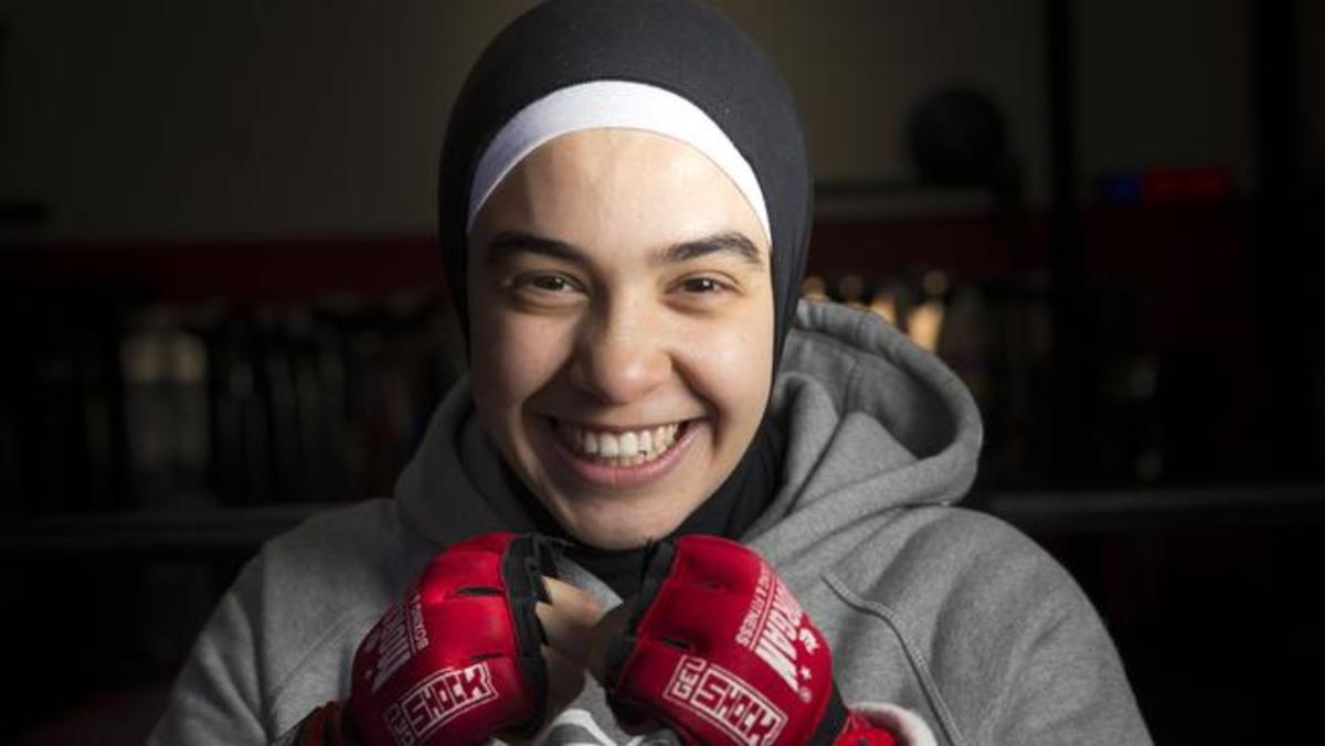 Hijab-wearing boxer Raianne Alameddine, 17, at Final Round Gym in Prestons.