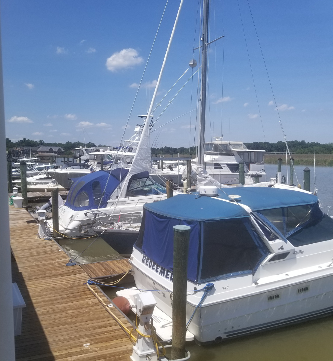 Enjoy the view of boats and the river as you dine outside at The Restaurant at Smithfield Station.
