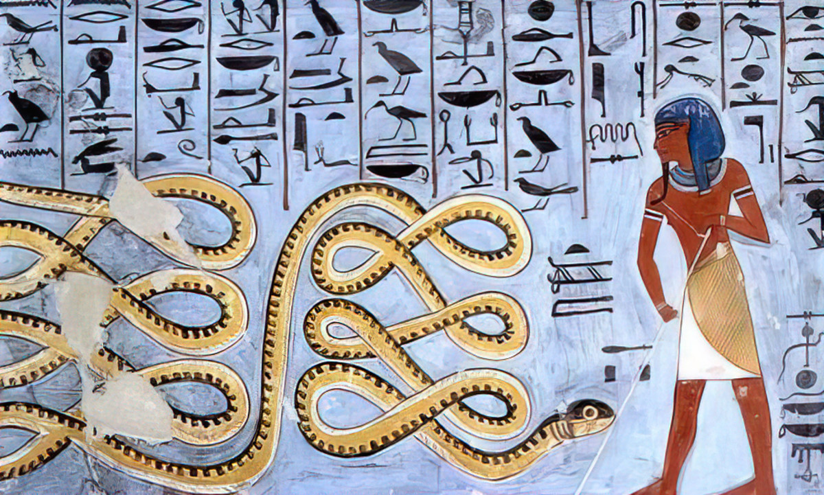 An Ancient Egyptian deity defending against Apep, an eternal nuisance and threat.