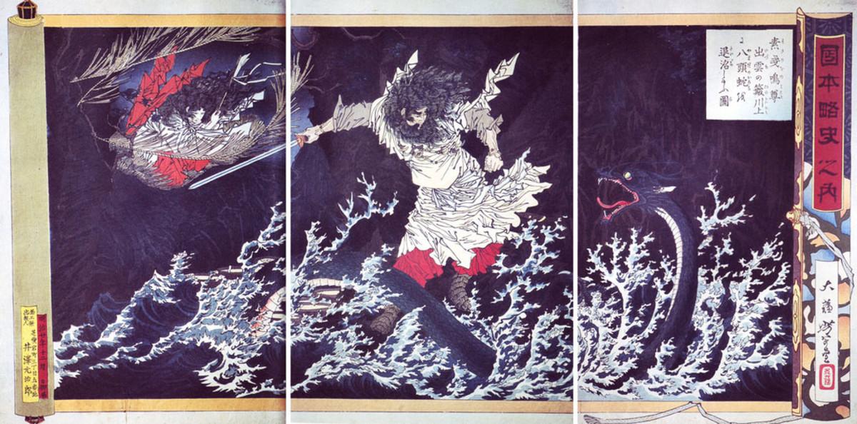Japanese woodblock print depicting the slaying of Yamata-no-Orochi.