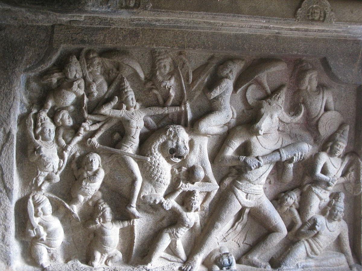 Mural depicting the slaying of Mahishasura by Durga at a cave temple in Mahabalipuram.