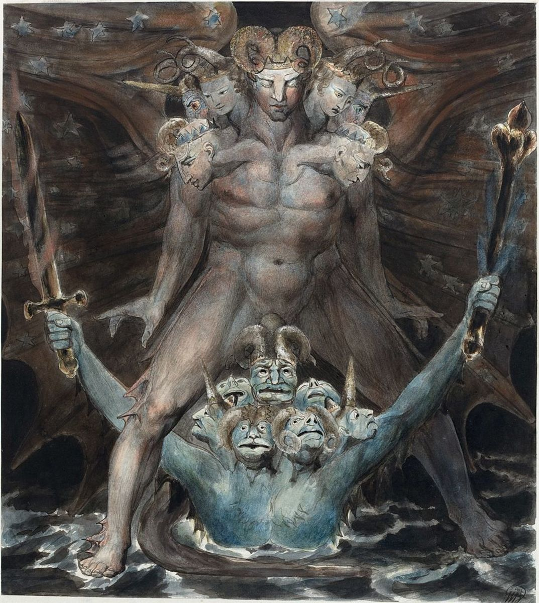 The Great Red Dragon and the Beast from the Sea by English painter, William Blake.