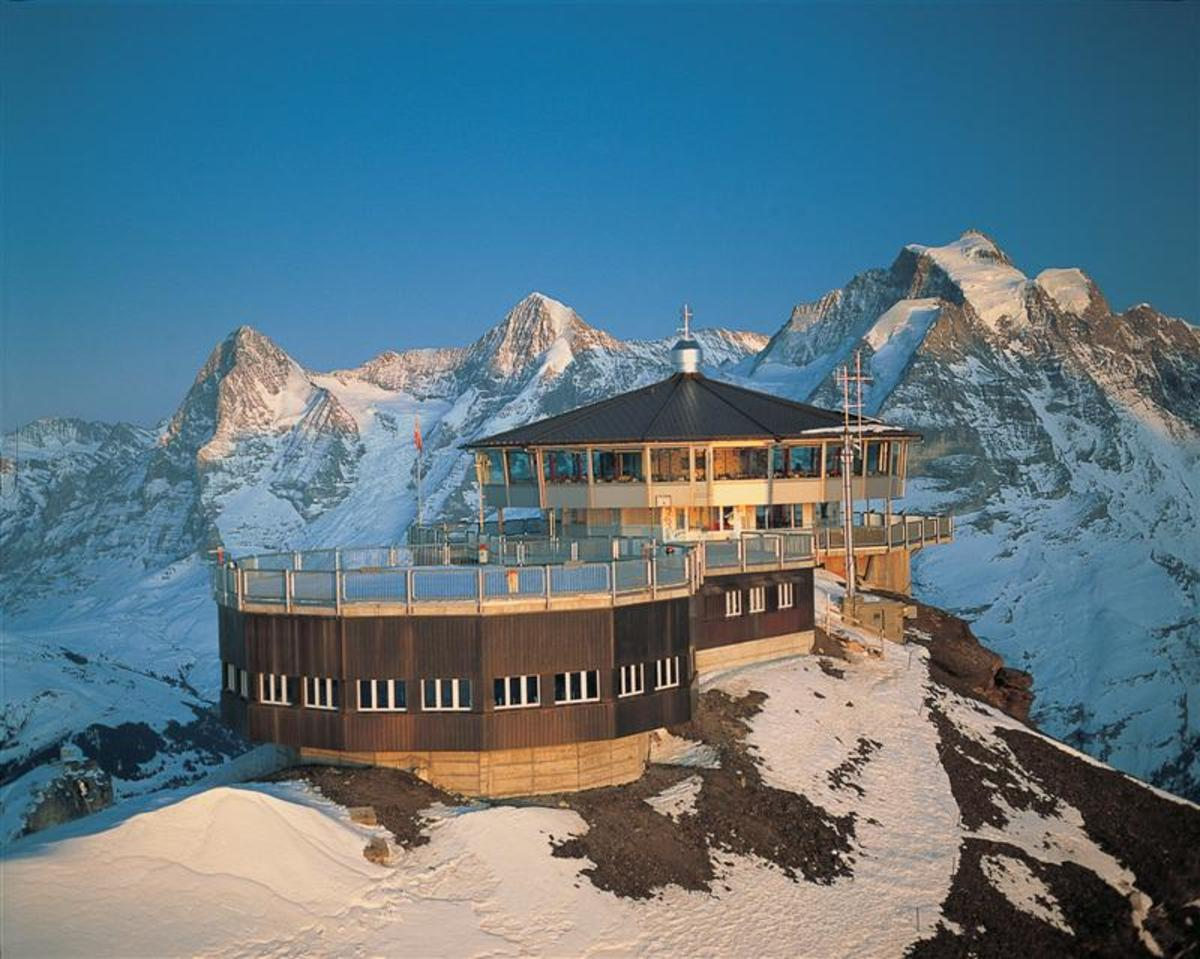 Piz Gloria, Blofeld's Swiss retreat and a stark contrast to the sunny locations Connery found himself in