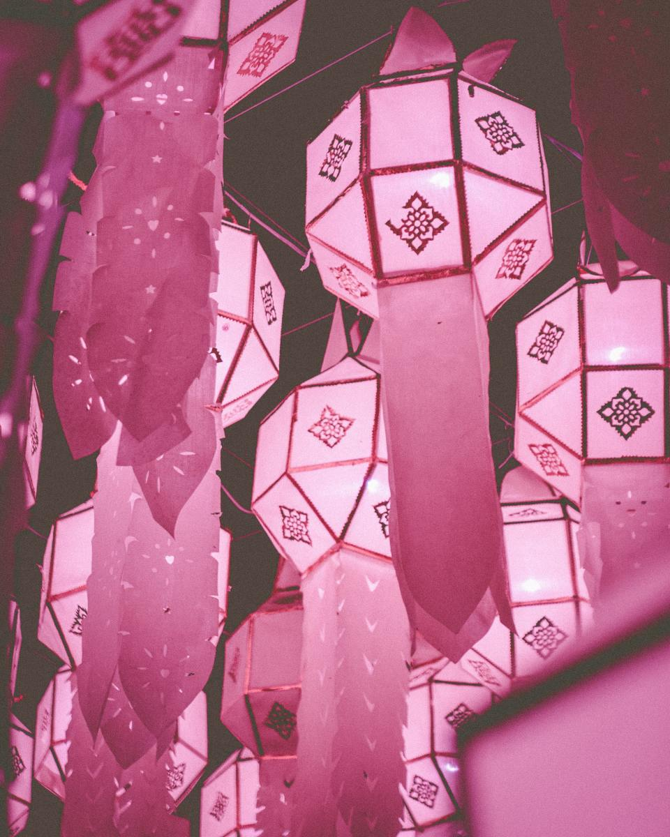 Paper Party Hanging Lanterns with stenciled tails.
