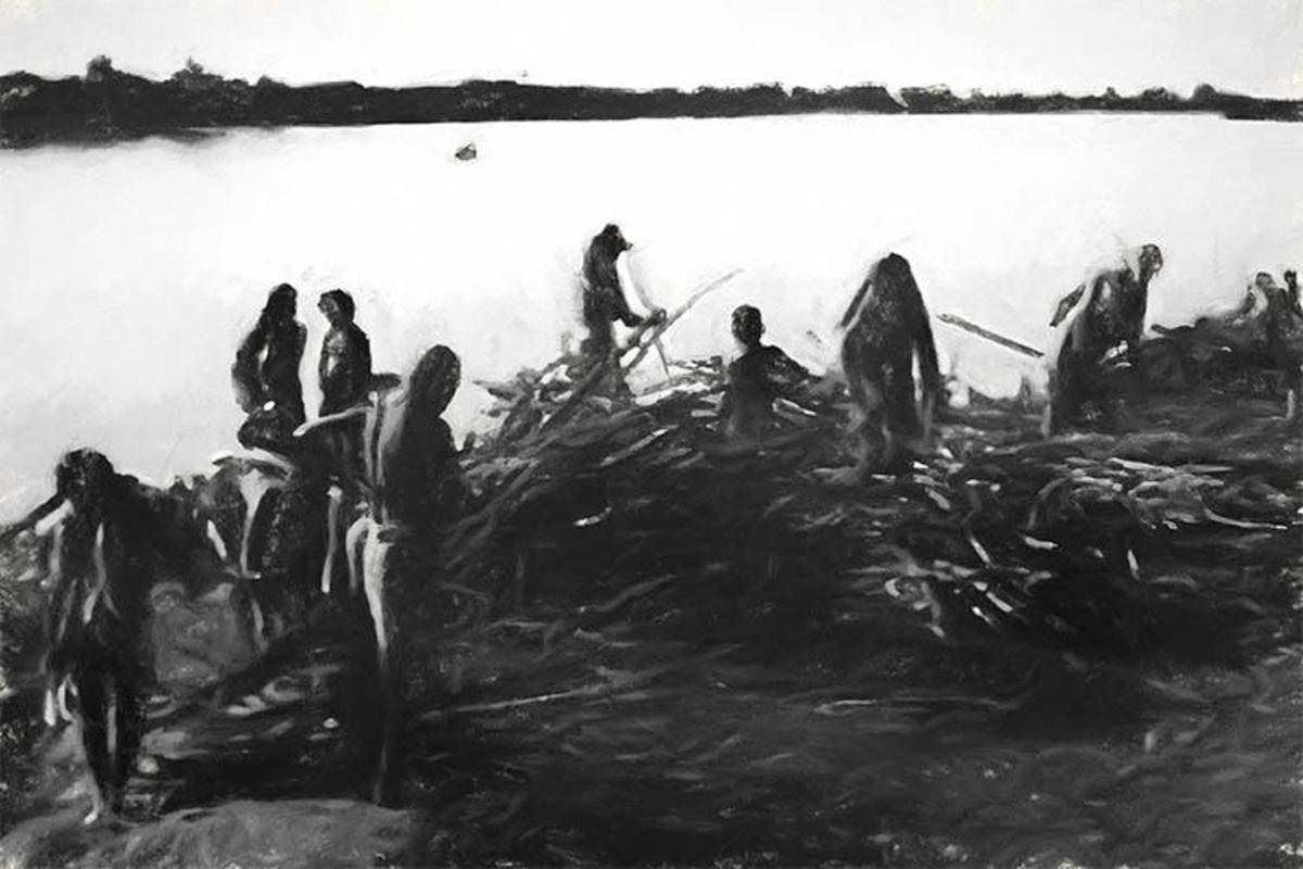The refugees collecting their charred parts of their houses after the massacre.