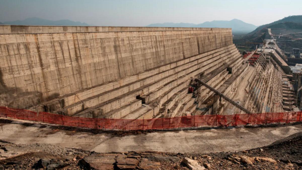 The Grand Ethiopian Renaissance Dam, a 1.1-mile-long.