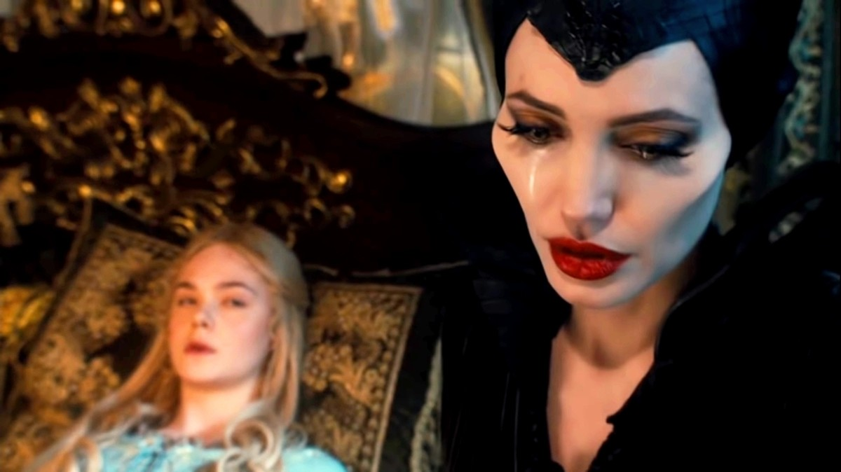 Maleficent starts weeping.