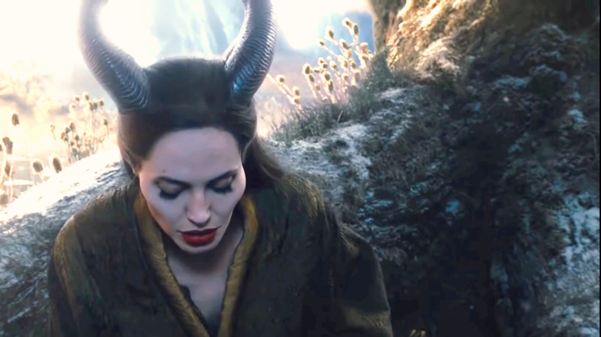 we are shown Maleficent in the forest.She was sad because she can't fly now.