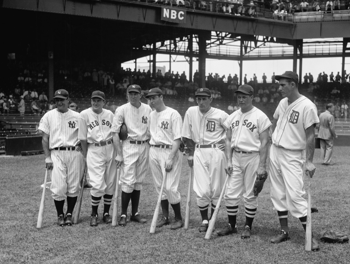Bill Dickey (third from left) was among the many sluggers on the 1937 American League All-Star team.