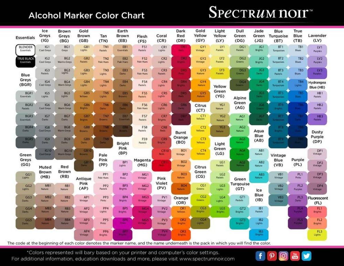 Spectrum Noir Basics have a complete color palette