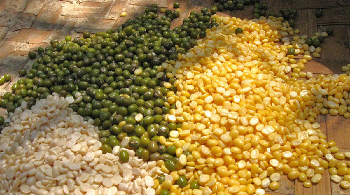 Mung Daal (Yellow) with Urad Daal (white)