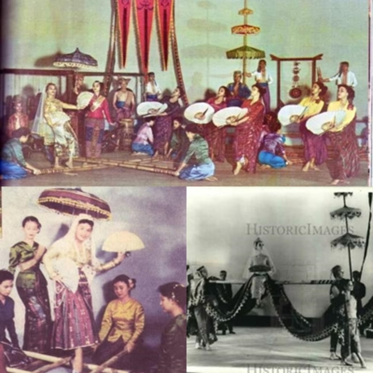 Bayanihan Singkil Evolution (from top to bottom, left to right); colorized picture in1958, their earlier version of Singkil, and black and white in 1977.