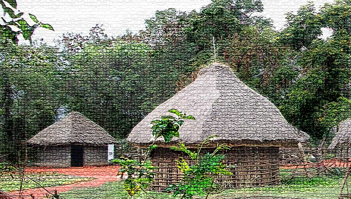 Two village huts in a work of art
