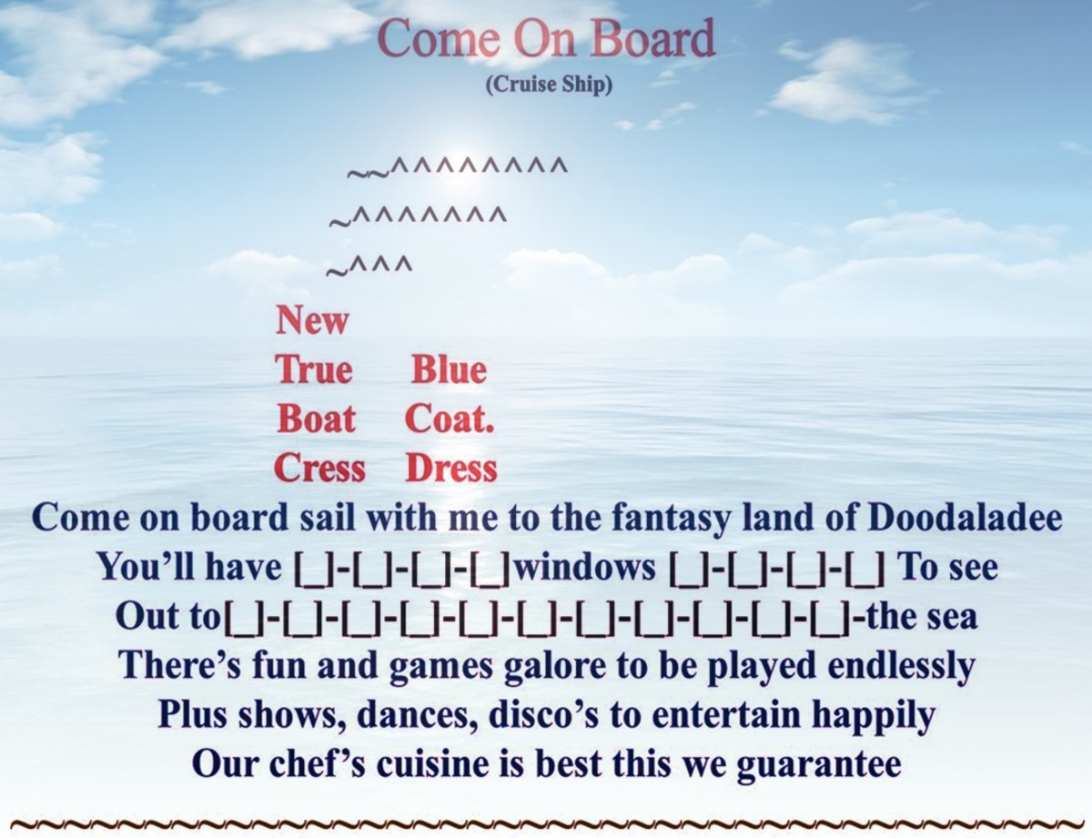 "My ""Cruise Ship""  Poem Form Creation"