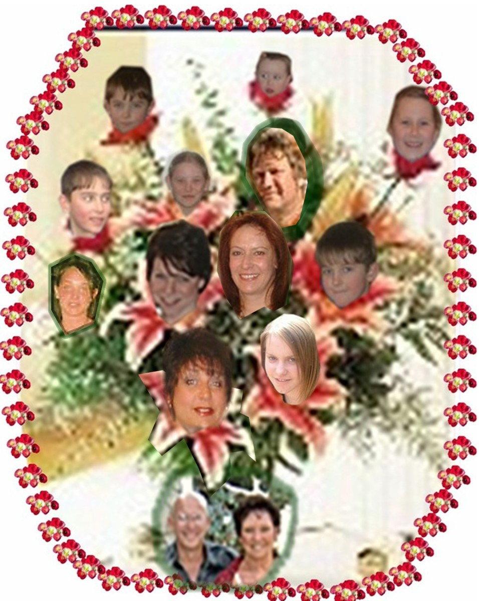 Some of the lovely blooms on my family tree