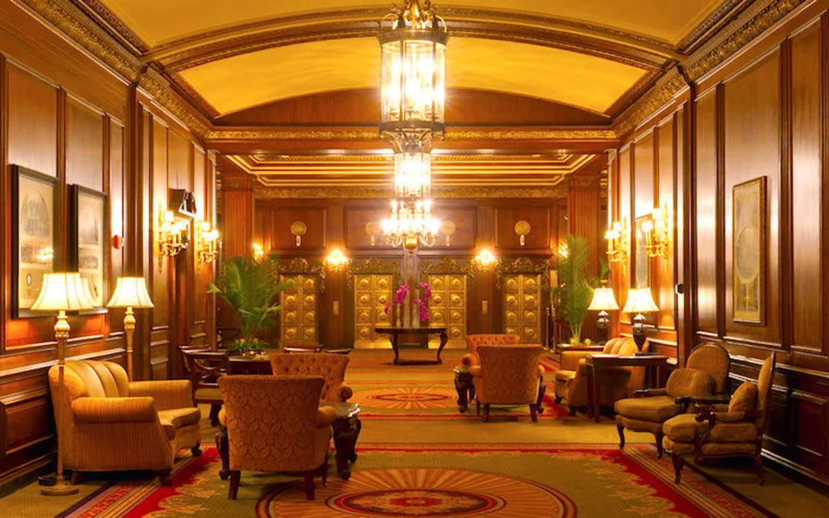 The lobby of the Omni Parker House Hotel