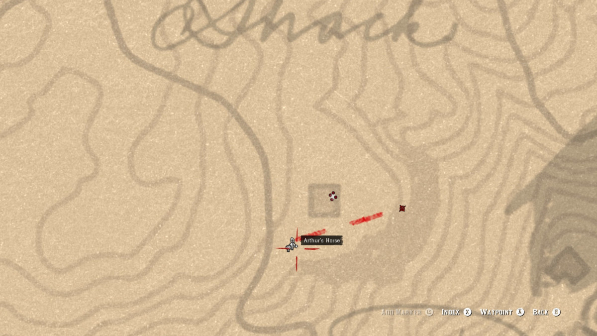 As you approach the cabin, you will be able to see four red dots, indicating where the enemies are at.