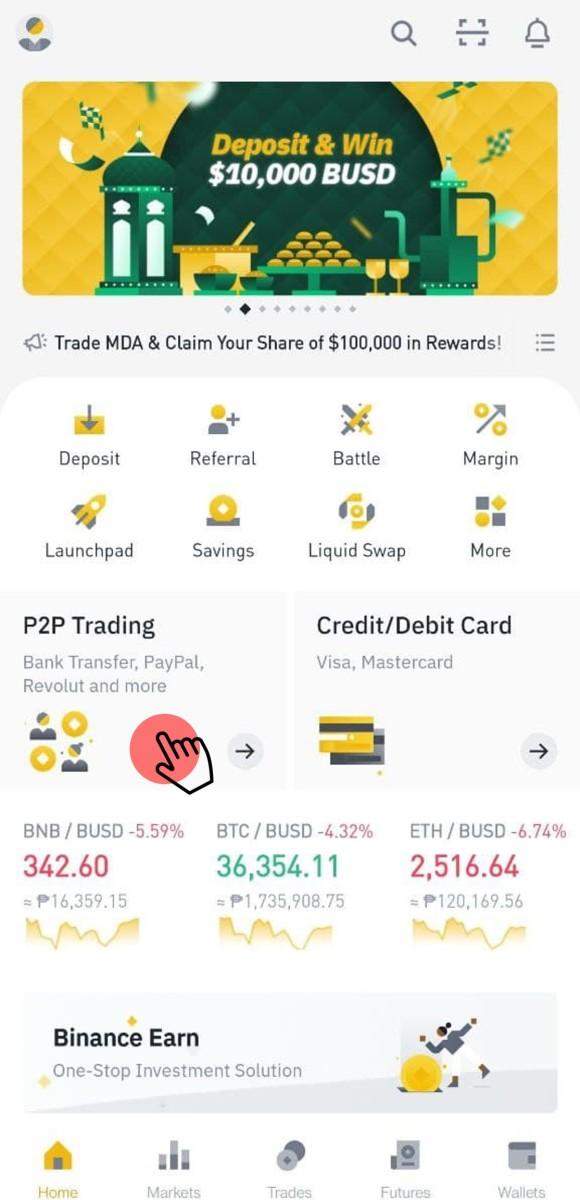 Locating the P2P Trading Platform of Binance App