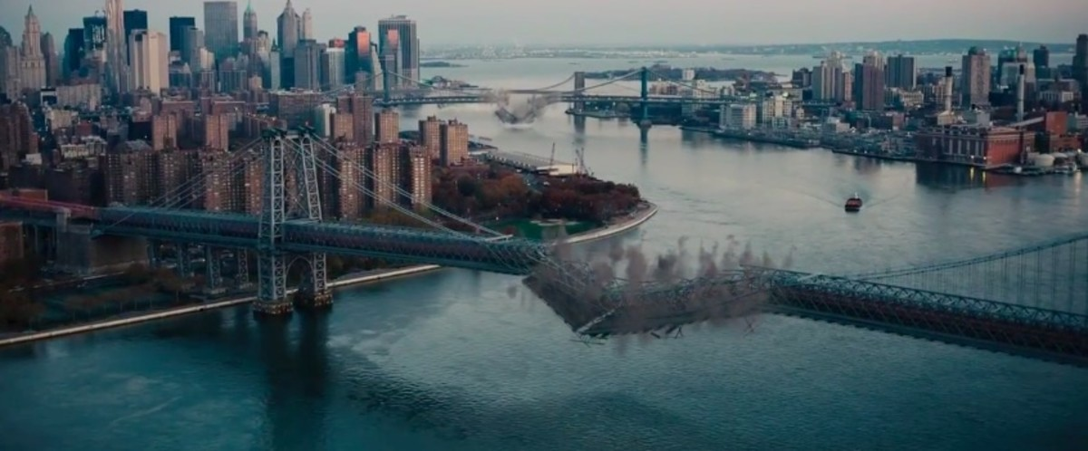 Courtesy of Warner Bros. Studios. Gotham isolated from the rest of the world in Dark Knight Rises