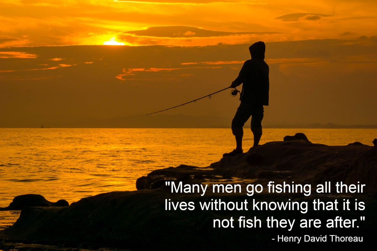 """""""Many men go fishing all of their lives without knowing that it is not fish they are after."""" - Henry David Thoreau, American author"""