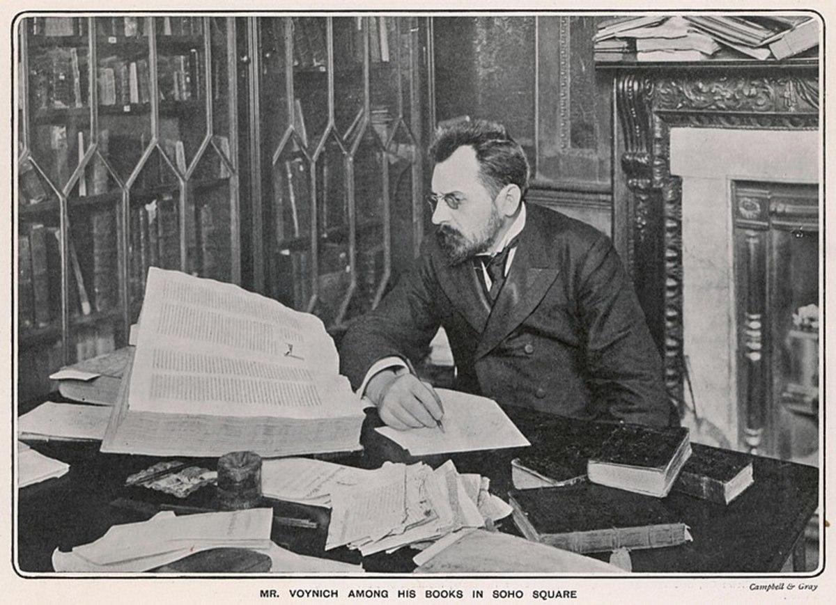 Wilfrid Voynich amid his antiquarian texts.