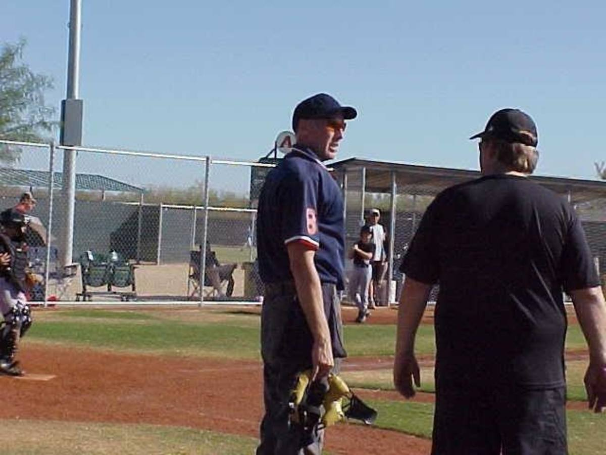 I talk to everyone at the game if they'll let me. One reason is because I'm a baseball nut. I never thought I'd be an umpire after my playing days.