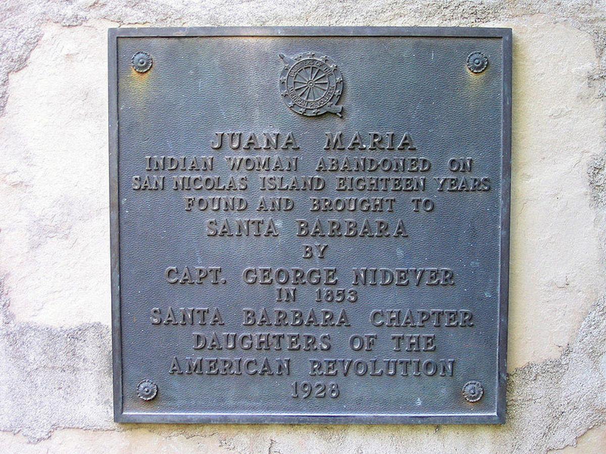 Plaque Commemorating Juana Maria of the Nicoleno Tribe