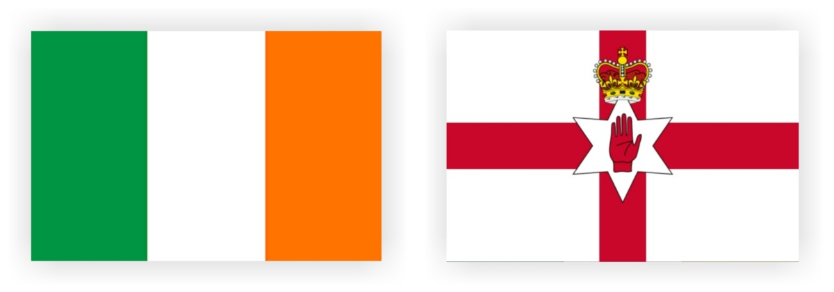 The banner of the Republic of Ireland (left) and Northern Ireland (right).